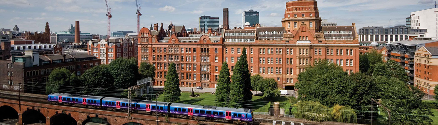 Sackville Street building with the train line in the foreground