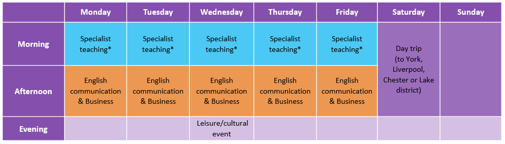 United in Manchester Internal Summer School timetable